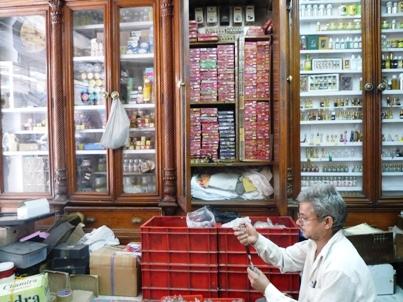 Il negozio in Chandni Chowk di oli essenziali e incensi